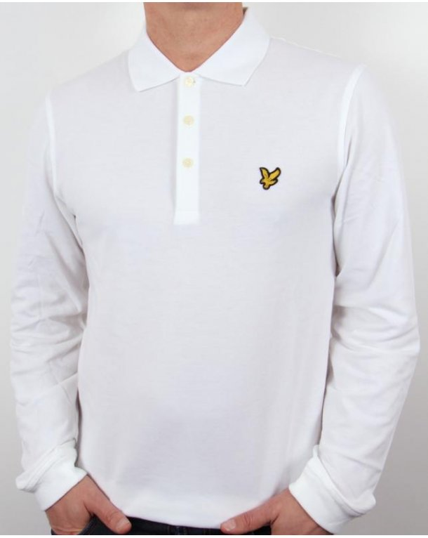 lyle and scott long sleeve polo shirt white mens lyle scott. Black Bedroom Furniture Sets. Home Design Ideas