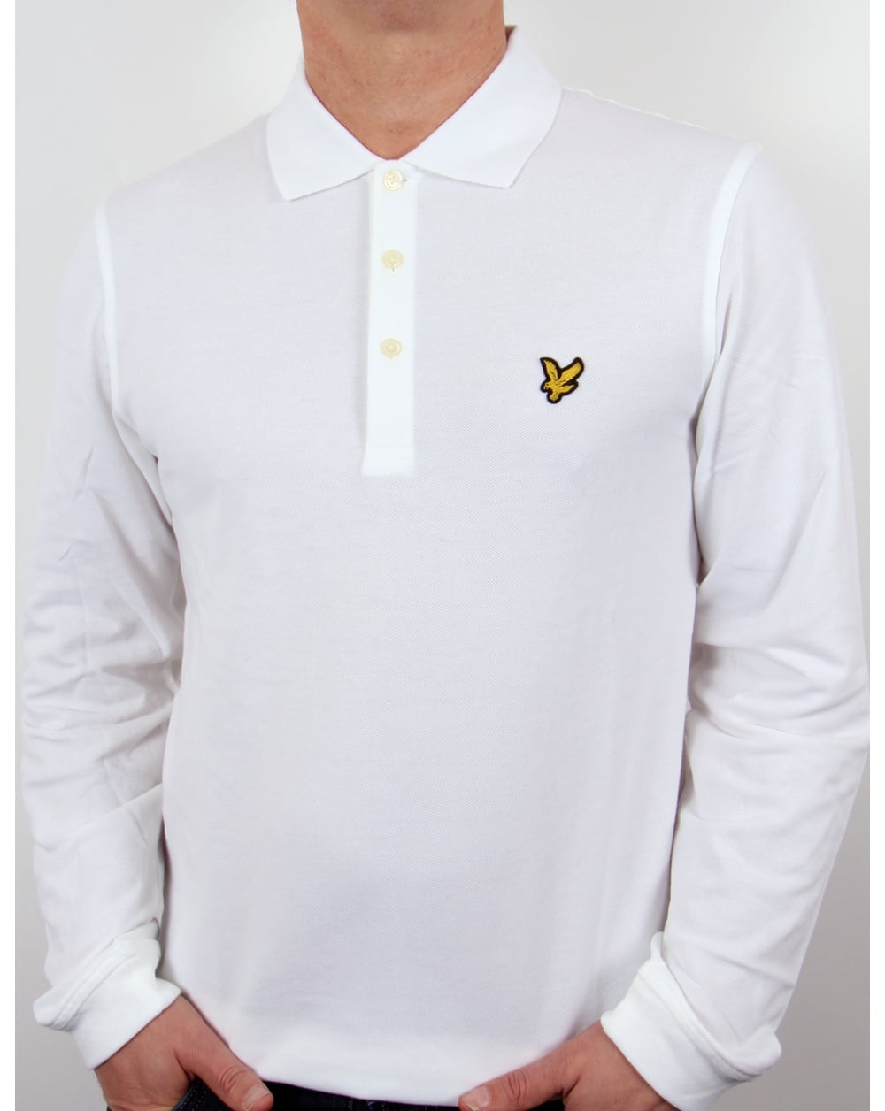 Lyle and scott polo shirt l s white for Lyle and scott shirt sale