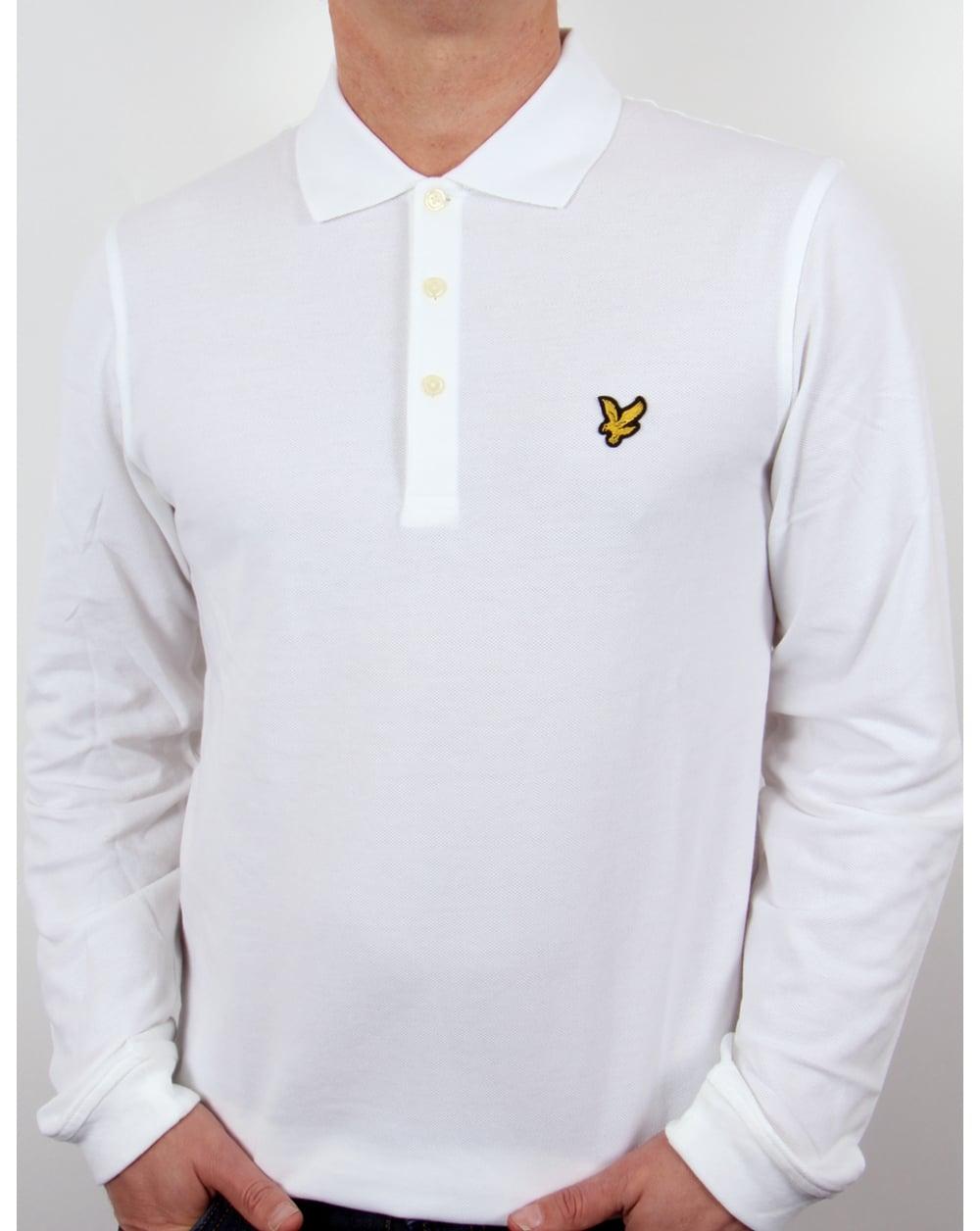 Lyle And Scott Long Sleeve Polo Shirt White Mens Lyle Scott