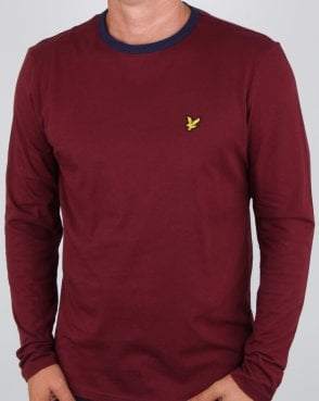 Lyle And Scott Long Sleeve Ringer T-shirt Claret Jug