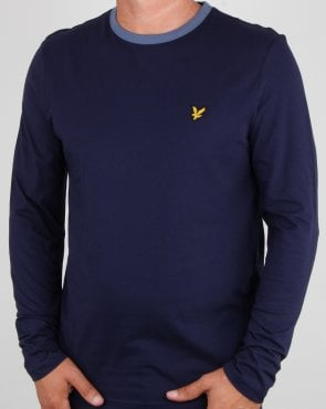 Lyle And Scott Long Sleeve Ringer T-shirt Navy