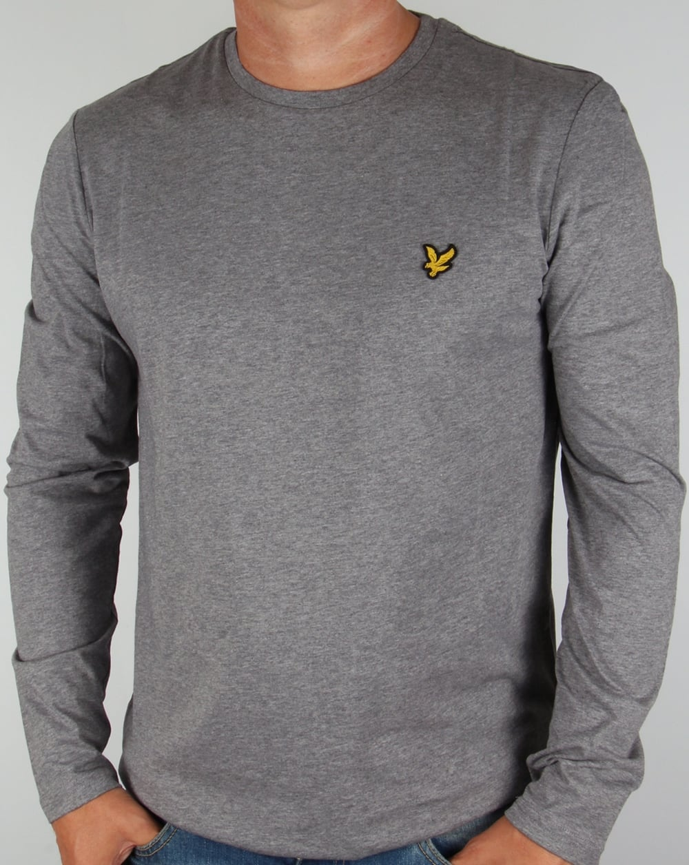 lyle and scott long sleeve t shirt mid grey marl tee crew. Black Bedroom Furniture Sets. Home Design Ideas