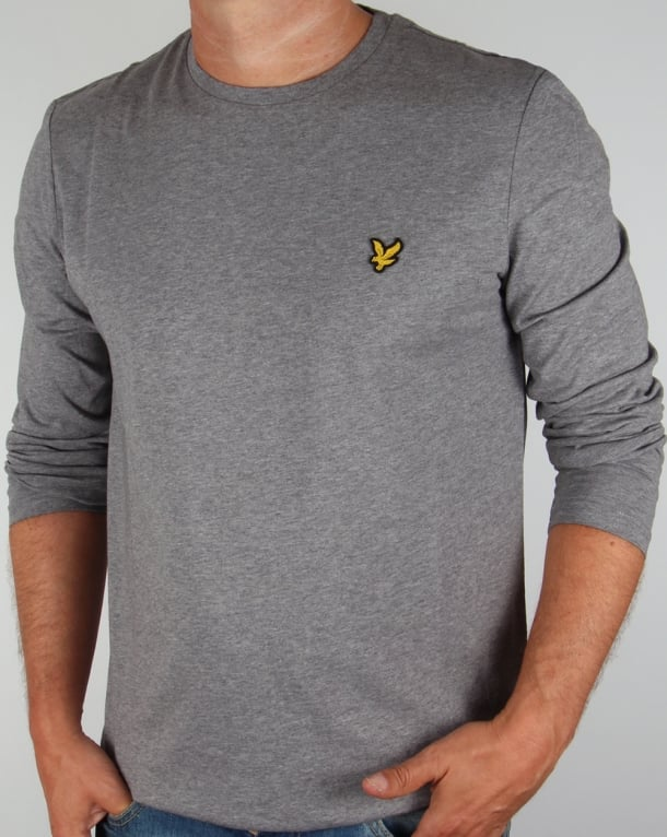 Lyle and Scott Long Sleeve T-shirt Mid Grey Marl