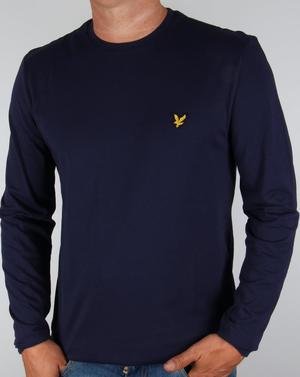 lyle and scott long sleeve t shirt navy tee crew neck men 39 s. Black Bedroom Furniture Sets. Home Design Ideas