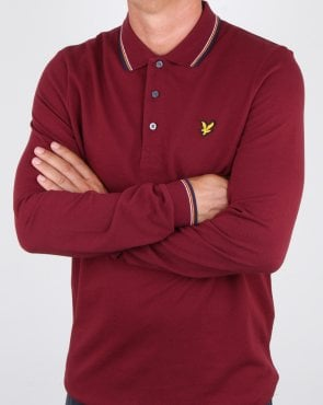 Lyle And Scott Long Sleeve Tipped Polo Shirt Claret Jug