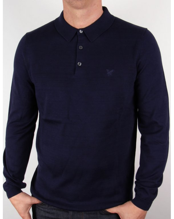 Lyle And Scott Mercerised Cotton L/s Knitted Polo Shirt Navy Blue