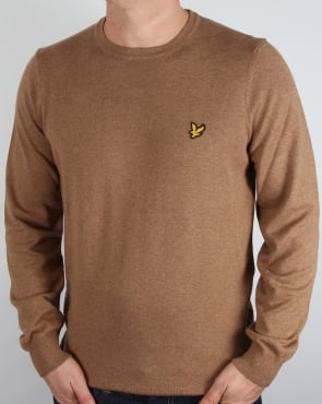 Lyle And Scott Merino Jumper Bracken Brown