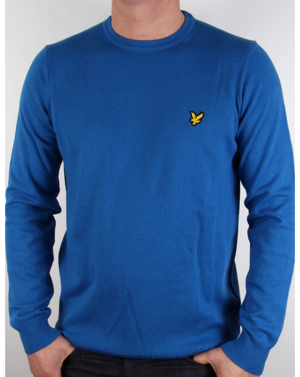 lyle and scott crew neck cotton merino jumper deep cobalt. Black Bedroom Furniture Sets. Home Design Ideas