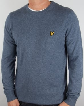 Lyle And Scott Merino Jumper Niagara Blue Marl