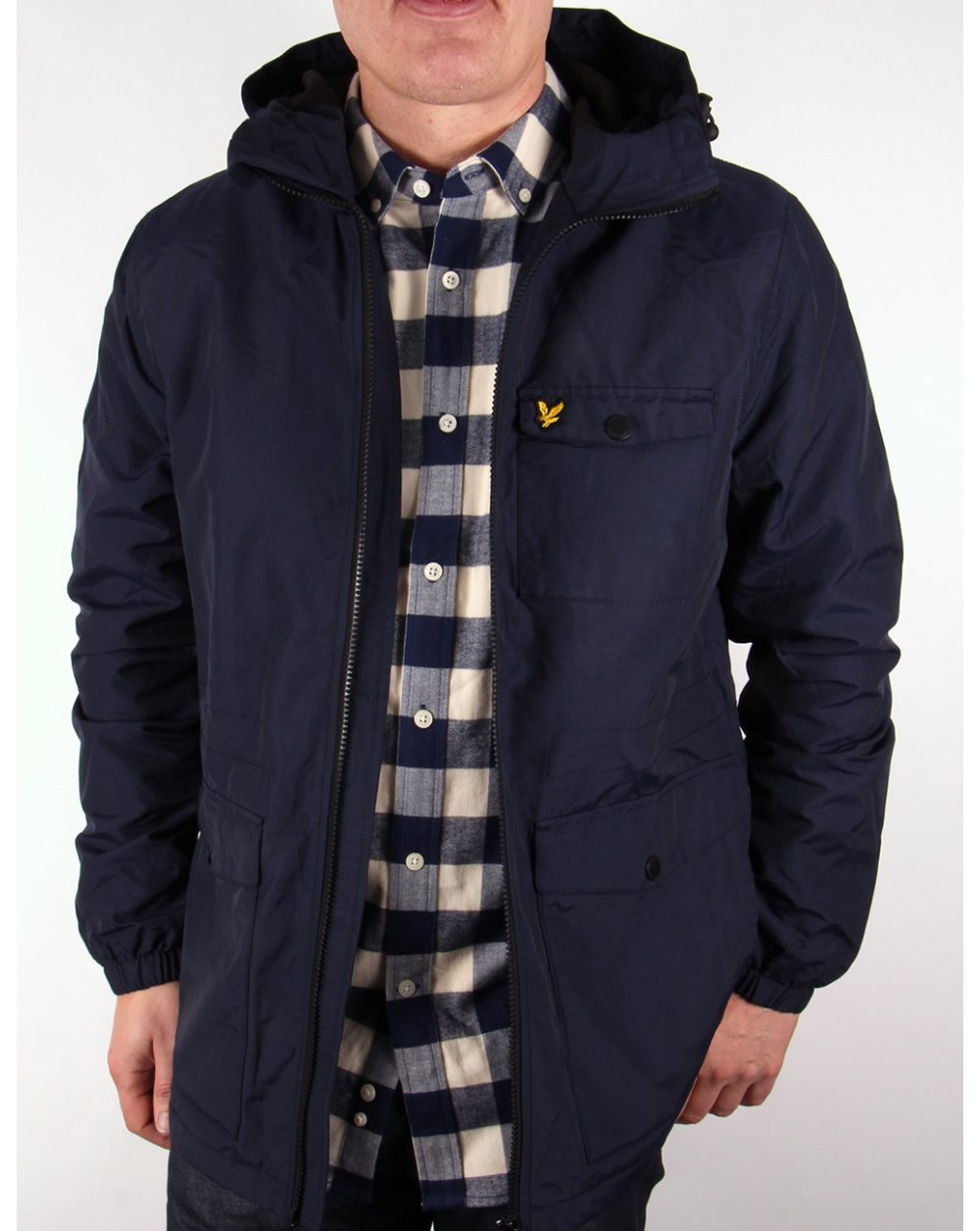 lyle and scott microfleece lined jacket navy parka coat mens. Black Bedroom Furniture Sets. Home Design Ideas