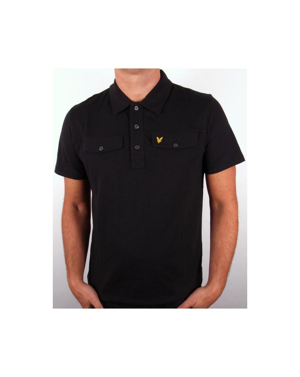 Lyle And Scott Mock Pocket Ss Polo Shirt Black Mens Polo Shirt Black