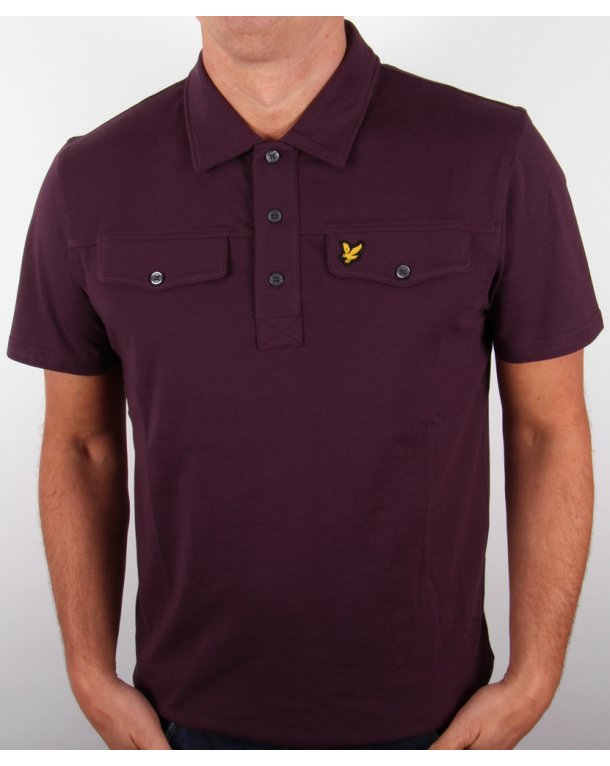 Lyle And Scott Mock Pocket S/s Polo Shirt Deep Plum