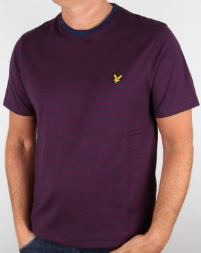 Lyle And Scott Mouline Stripe T Shirt Navy