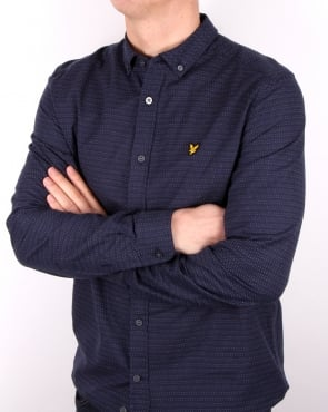 Lyle And Scott Multi Colour Running Stitch Shirt Navy