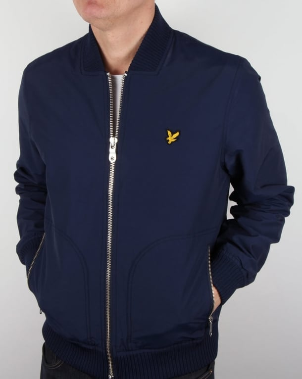 Lyle And Scott Nylon Bomber Jacket Navy
