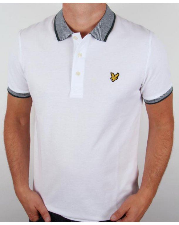 Lyle And Scott Oxford Jacquard Collar Polo Shirt White