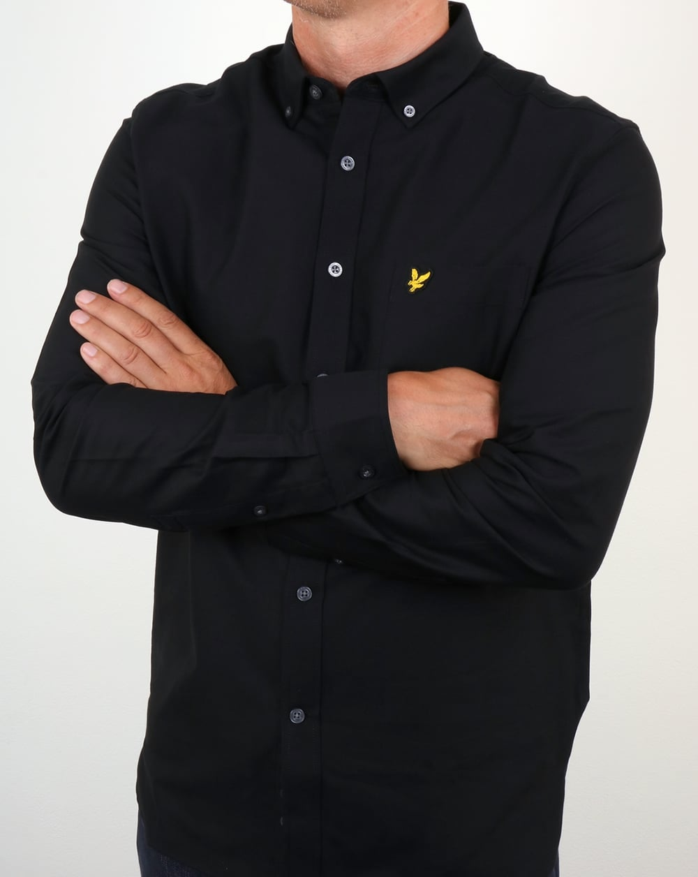 Lyle and scott oxford shirt black cotton long sleeve smart for Lyle and scott shirt sale