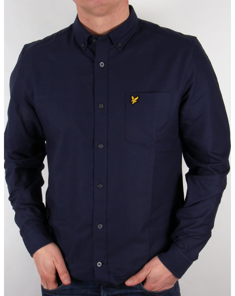 Lyle and scott shirt navy oxford long sleeve mens smart for Lyle and scott shirt sale