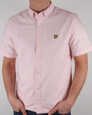 Lyle And Scott Oxford Short Sleeve Shirt Pink Sorbet