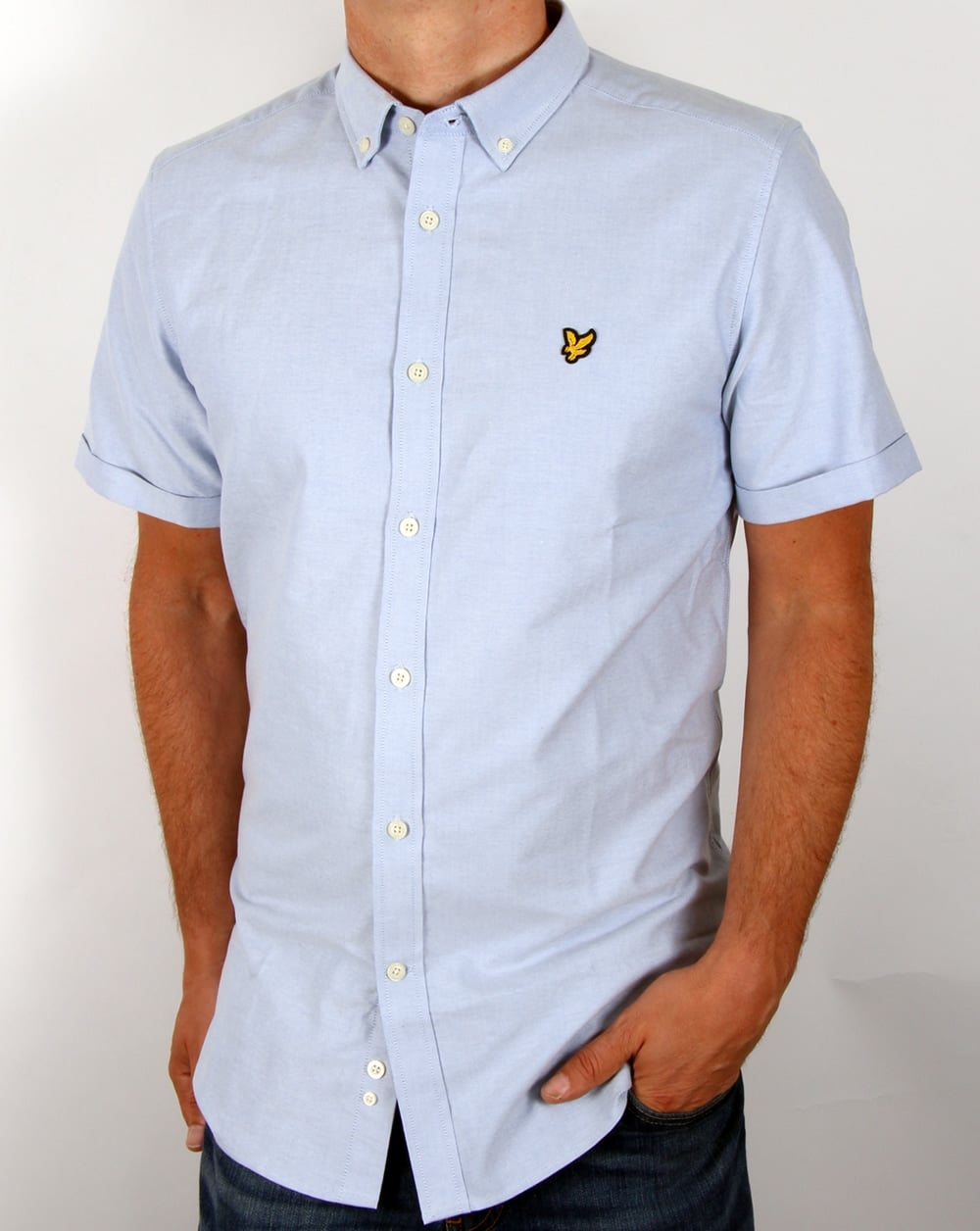 Lyle and scott oxford short sleeve shirt riviera blue for Lyle and scott shirt sale
