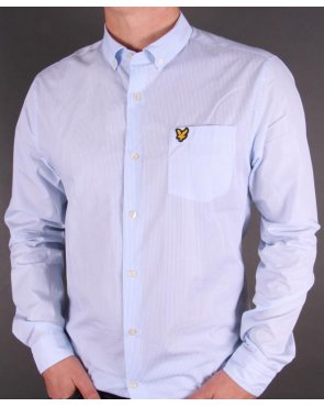 Lyle And Scott Pinstripe Shirt Riviera Blue