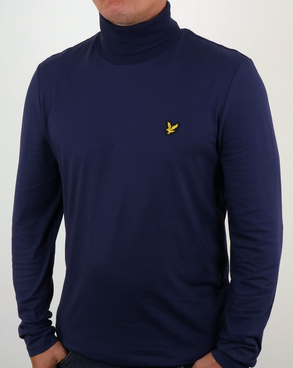 Lyle and scott roll neck navy jumper cotton mens for What is polo neck t shirts