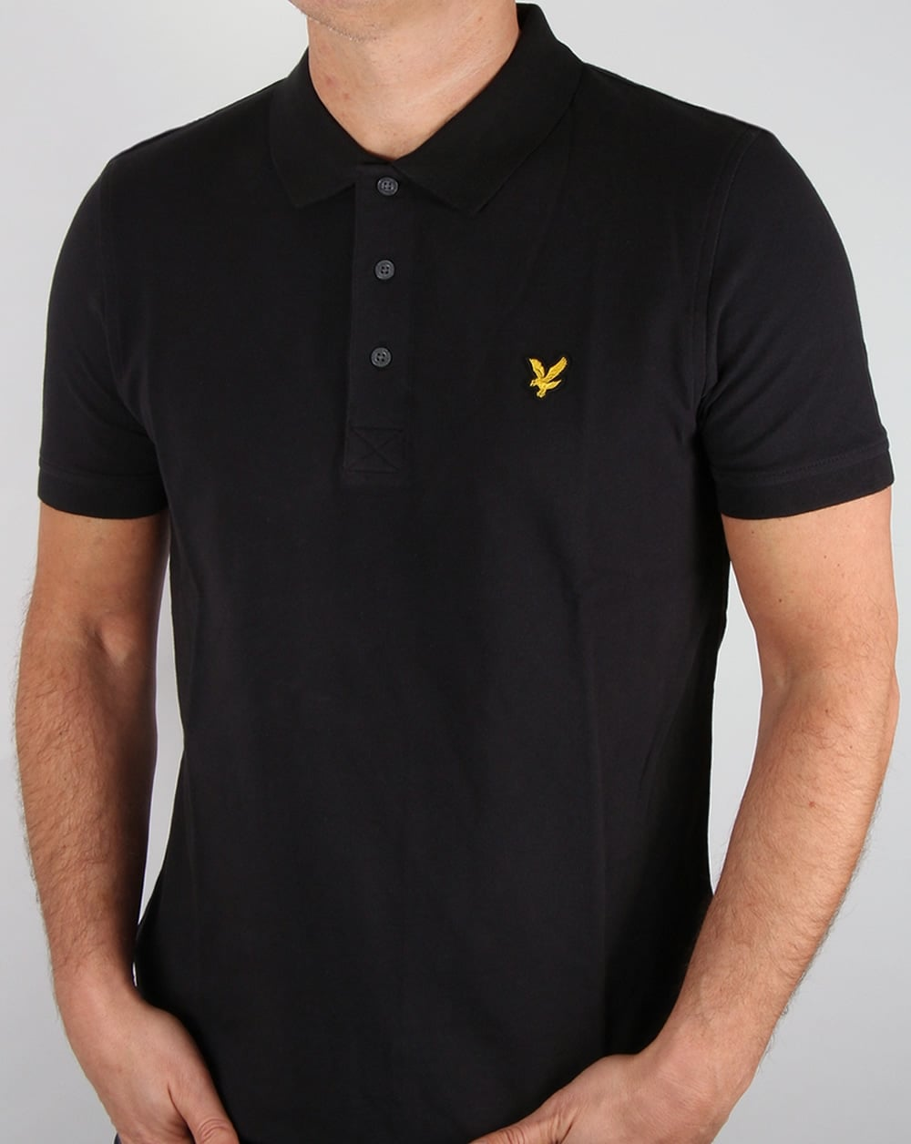 lyle and scott polo shirt black pique neck cotton mens. Black Bedroom Furniture Sets. Home Design Ideas