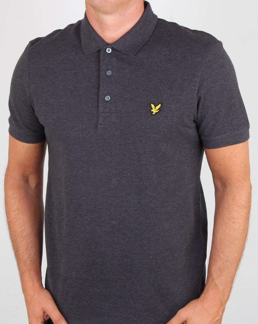 lyle and scott polo shirt charcoal marl 80s casual classics. Black Bedroom Furniture Sets. Home Design Ideas