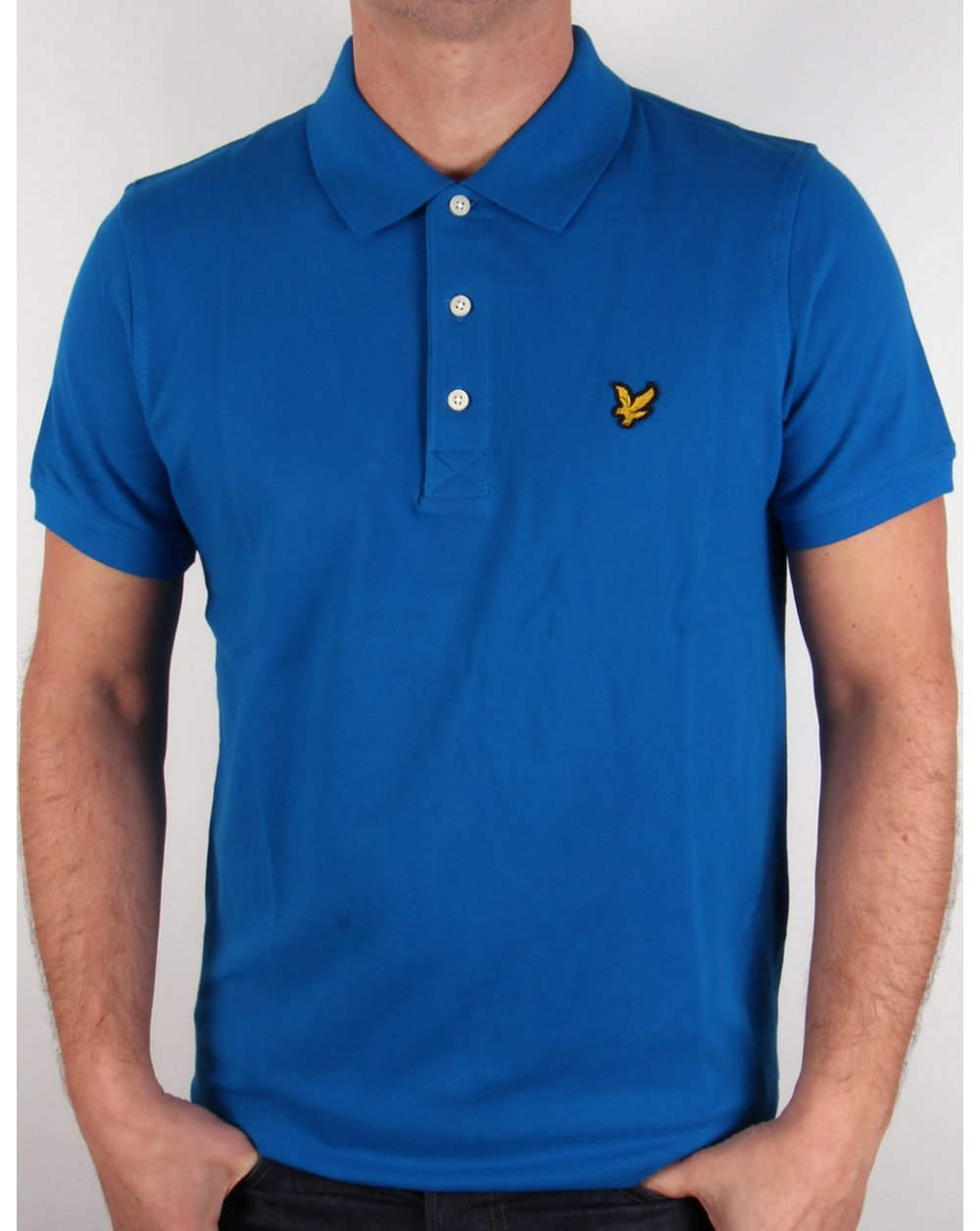 lyle and scott polo shirt deep cobalt mens neck sale. Black Bedroom Furniture Sets. Home Design Ideas