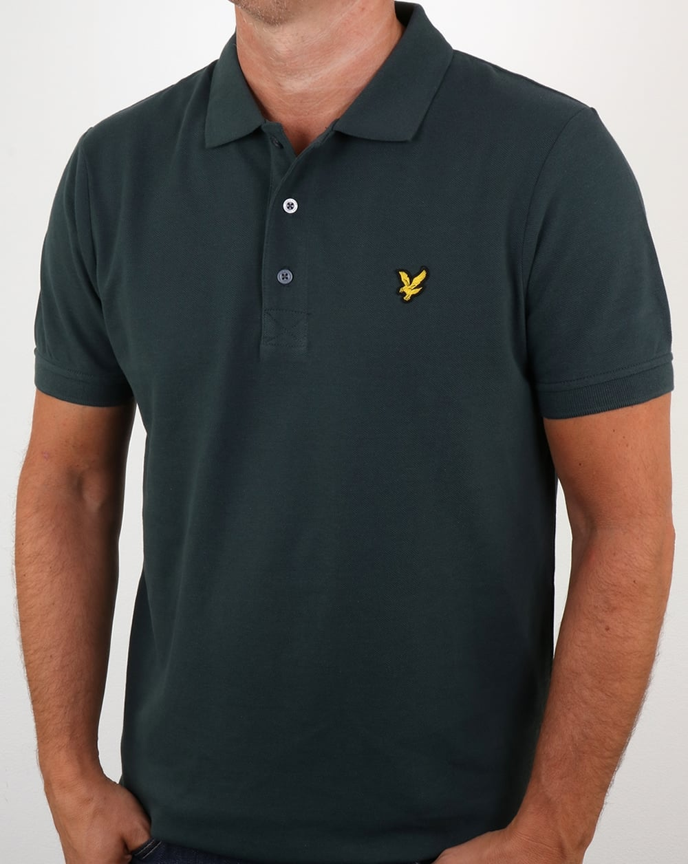 Lyle and scott polo shirt forest green short sleeve cotton for Forest green polo shirts