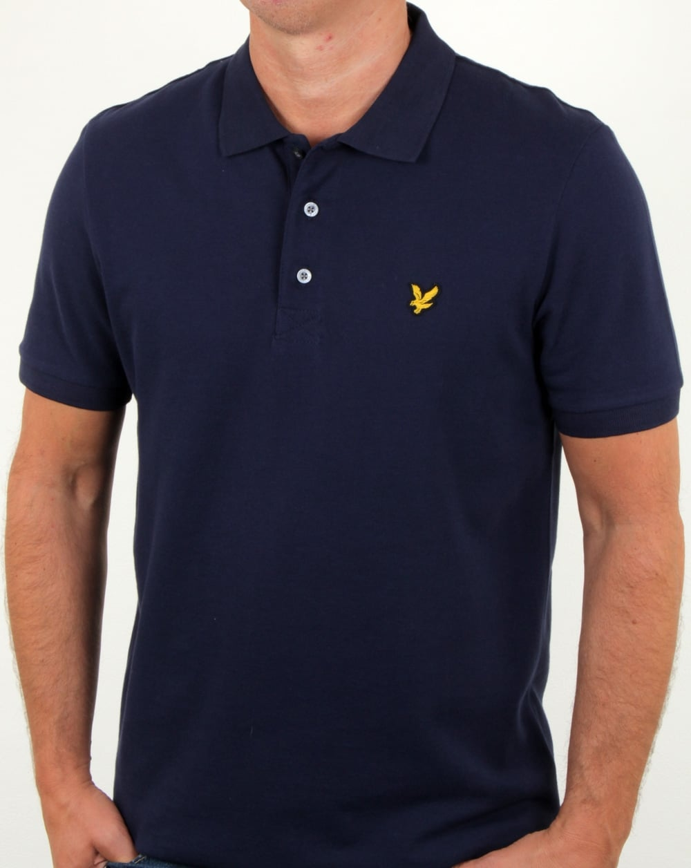 lyle and scott polo shirt navy pique neck cotton mens. Black Bedroom Furniture Sets. Home Design Ideas