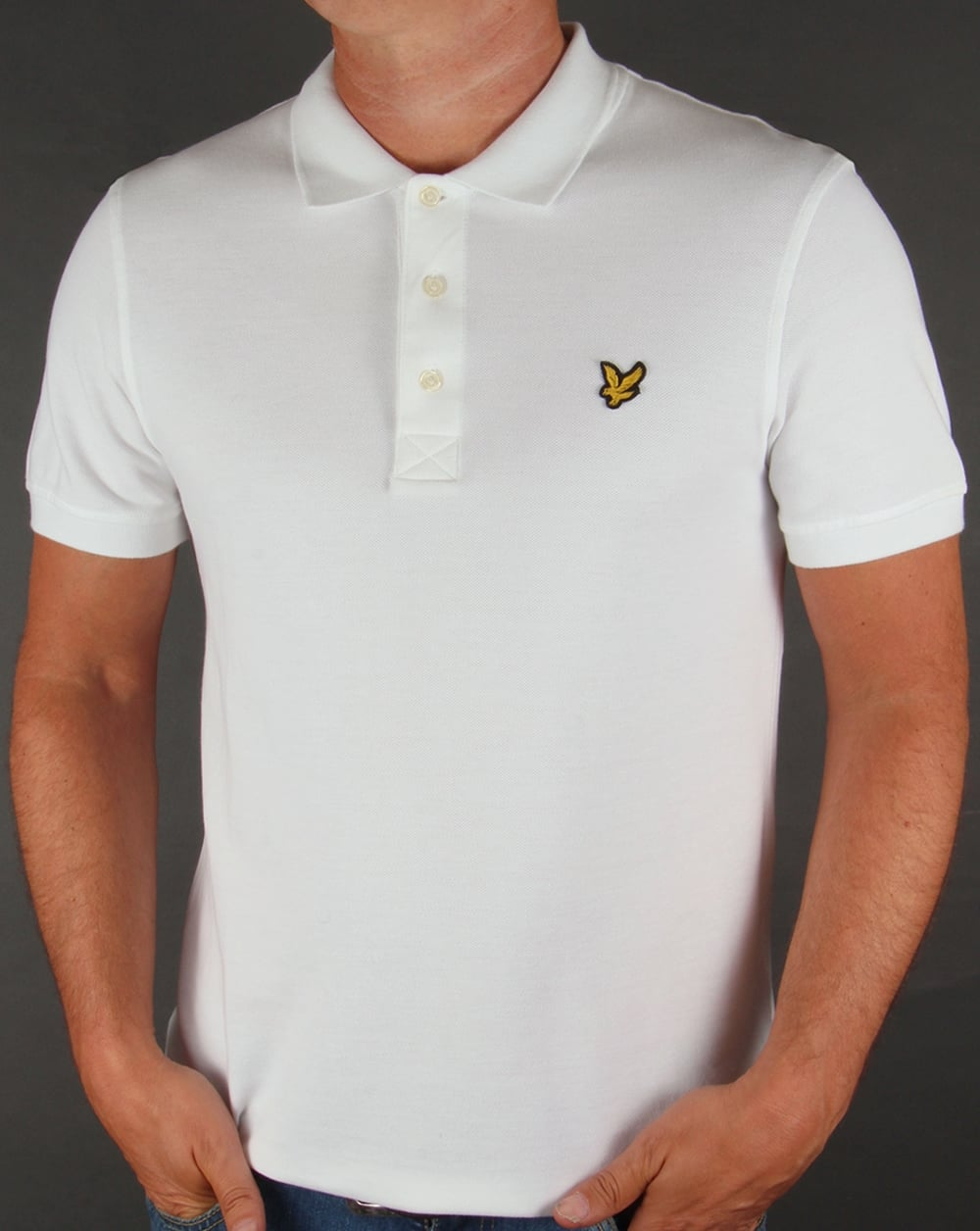 lyle and scott polo shirt white pique neck cotton mens. Black Bedroom Furniture Sets. Home Design Ideas