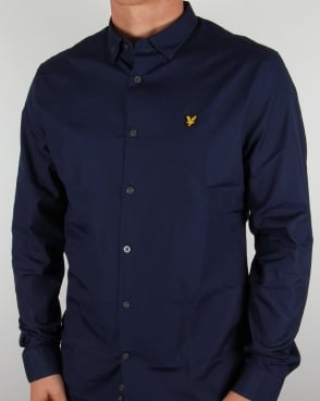 Lyle And Scott Poplin Slim Fit Shirt Navy
