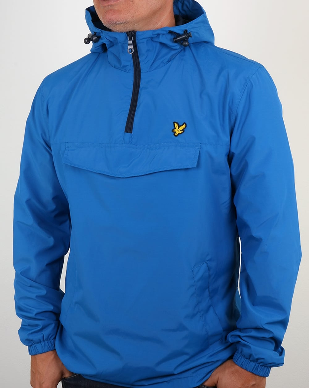 lyle and scott qtr zip smock jacket lake blue anorak. Black Bedroom Furniture Sets. Home Design Ideas