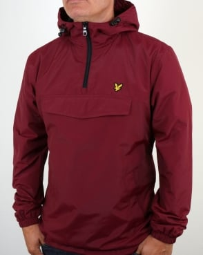 Lyle And Scott Qtr Zip Smock Jacket Claret