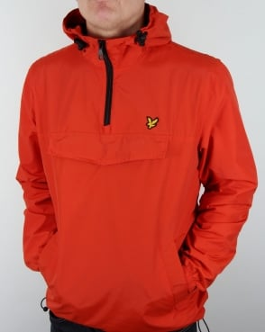 Lyle And Scott Qtr Zip Smock Jacket True Orange