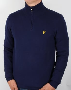 Lyle And Scott Quarter Zip Cotton Merino Jumper Navy
