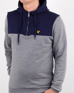Lyle And Scott Quarter Zip Hoodie Mid Grey Marl