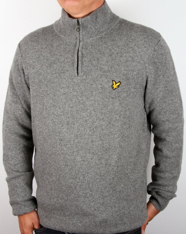 Lyle And Scott Quarter Zip Jumper Mid Grey Marl