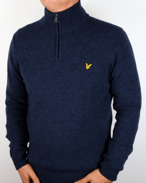 Lyle And Scott Quarter Zip Jumper Navy Marl