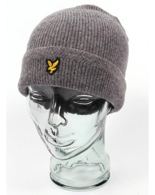 Lyle And Scott Racked Rib Beanie Mid Grey Marl