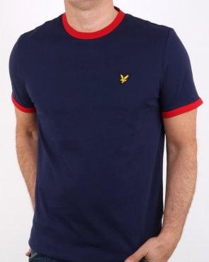 Lyle And Scott Ringer T Shirt Navy/dark Red