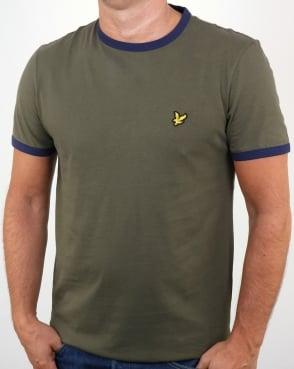 Lyle And Scott Ringer T Shirt Olive