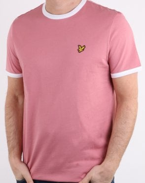 Lyle And Scott Ringer T Shirt Pink/White