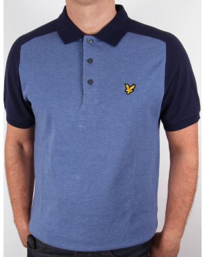 Lyle And Scott Saddle Shoulder Polo Shirt Navy Marl