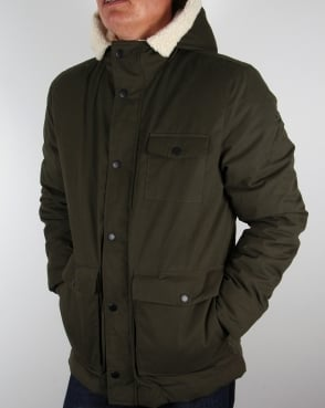 Lyle And Scott Shearling Lined Parka Dark Sage