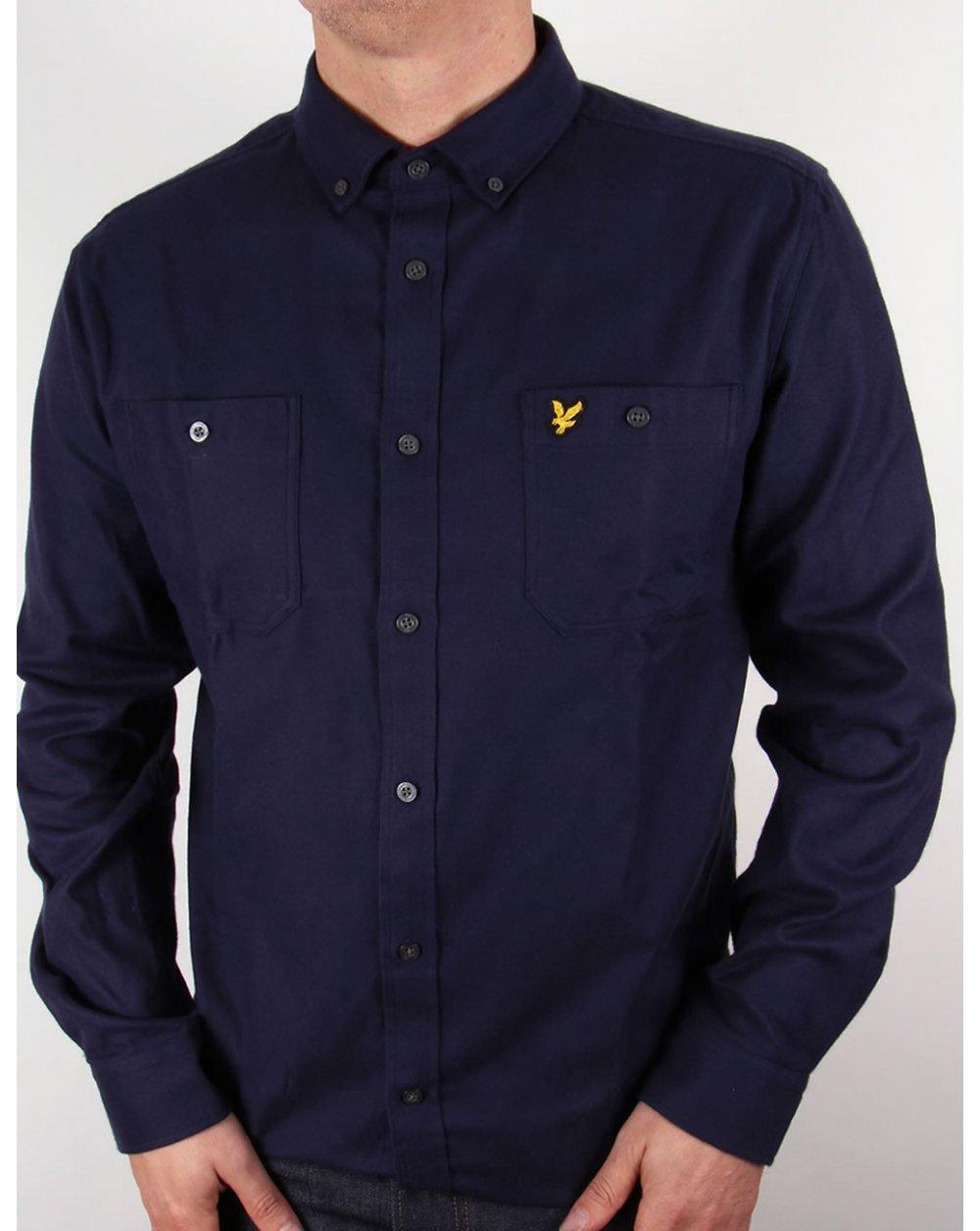 lyle and scott fairisle detail oversized shirt navy blue mens cotton. Black Bedroom Furniture Sets. Home Design Ideas