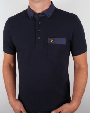 Lyle And Scott Shirting Collar Polo Shirt Navy