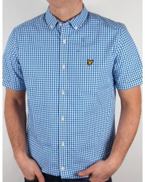Lyle And Scott Short Sleeve Gingham Check Shirt Deep Cobalt