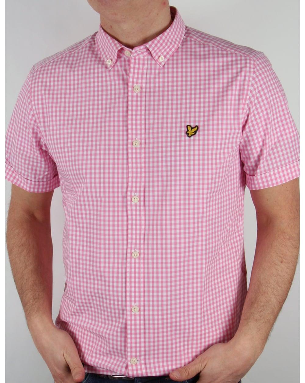 Lyle And Scott Short Sleeve Gingham Check Shirt Summer Pink